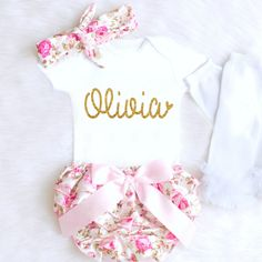 Baby Girl Coming Home Outfit Baby Girl Clothes Personalized Newborn Girl Outfit Spring Floral Bloomers Summer Baby Girl Outfit monogram 1  #Affiliate