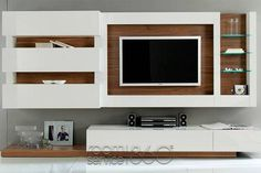 Gallery 31 Wall Unit in White Lacquer and American Walnut by Milmueble