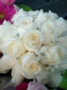 Bridal Bouquets - love the crystals in the small flowers