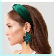 Forest Green velvet hand knotted over our width comfort fit headband. Pigtail Hairstyles, Bobby Pin Hairstyles, Headband Hairstyles, Braided Hairstyles, Hair With Headband, Turban Headband Tutorial, Turban Headbands, Color Type, Hair Scarf Styles