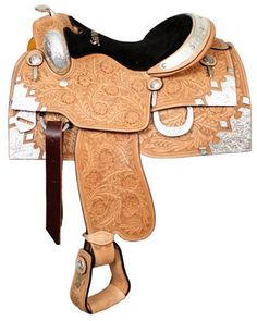 Showman Silver Show Saddle With Silver Horn And Floral Tooling | ChickSaddlery.com