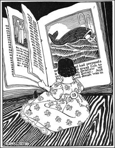 """"""" Illustration of girl reading about Jonah by Dorothy P. Lathrop from Hitty - Her First Hundred Years by Rachel Field. The MacMillan Company, New York, First edition. Classic Tale of. Reading Art, Girl Reading, Children Reading, Ex Libris, I Love Books, Good Books, People Reading, One Hundred Years, 40 Years"""