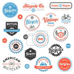 stock vector : Set of vintage and modern bicycle shop logo badges and labels Logo Velo, Bike Logo, Boutique Velo, Logo Boutique, Anjou Velo Vintage, Vintage Cafe, Vintage Modern, Logos, Logo Branding