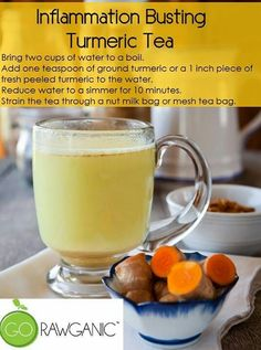 Tumeric tea 2 cups water - bring to boil, add 1 tsp turmeric.  Simmer 10 mins, strain and enjoy.  Add honey, ginger as required.