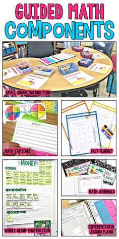 Separate Posts for: -Organization -Flexible Grouping -Managing Rotations -Whole Group Instruction -Small Group Guided Instruction -Independent Practice -Math Stations -Math Journals -Fact Fluency Fourth Grade Math, Second Grade Math, Third Grade Reading, Sixth Grade, Grade 2, Guided Reading, Fun Math, Math Activities, Math Math