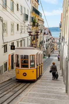 Lisbon - one of the many funiculars - the river shows up down the hill, Portugal