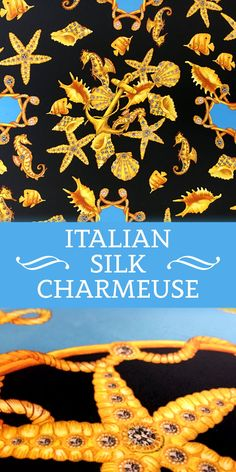 Printed Silk Charmeuse with Jewelled Seashells and Seahorses (Made in Italy - 100% Silk)