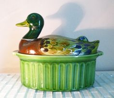 Vintage French Ceramic Casserole Dish with Lid Mallard Duck France Green Emerald Moss Bird