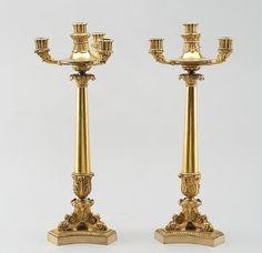 Par de candelabros em bronze gilded a ouro da primeira metade do sec.19th, 52cm de altura, 8,950 USD / 8,095 EUROS / 34,500 REAIS / 56,520 CHINESE YUAN soulcariocantiques.tictail.com