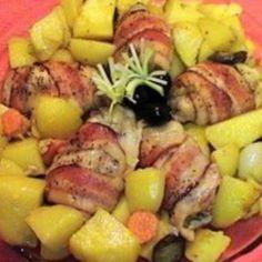 Pulpe de pui cu bacon si legume la cuptor