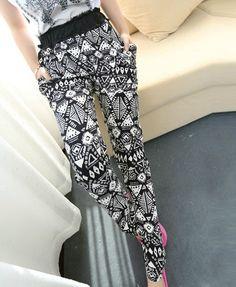 Vintage Geometric Harem Pants