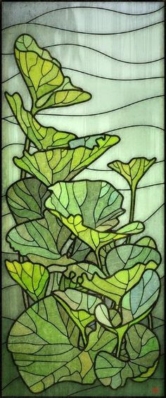 Pumpkin leaves stained glass - design by 'Rusty' by Hercio Dias