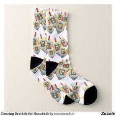 Dancing Dreidels for Hanukkah Socks