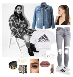 """""""Feeling like a rockstar...."""" by drey-harper on Polyvore featuring adidas, AMIRI, LE3NO, Gucci, Jessica Carlyle and Barry M"""