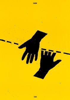 « Sans titre » Nous travaillons ensemble (collectif). Affiche créée pour une exposition photographique sur la frontière entre Etats-Unis et Mexique, 1991.