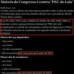 """Maioria do Congresso é contra """"PEC do Lula"""" [O Antagonista] http://www.oantagonista.com/posts/maioria-do-congresso-e-contra-pec-do-lula ②⓪①⑦ ⓪⑤ ②⑧ #LulaNaCadeia"""