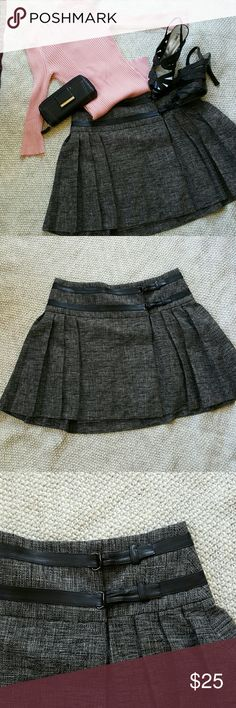 Forenza Pleated Skirt Cute skirt for work or casual night out! 2 buckles on the front for adjustment! Forenza Skirts