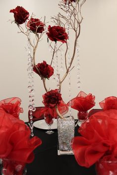 Red roses branch centerpiece   Flickr - Photo Sharing!