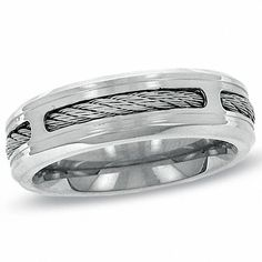 Men's Comfort Fit Stainless Steel Cable Wedding Band - View All Rings - Zales--like the look but I'd rather it be white gold or platinum Unique Mens Rings, Rings For Men, Stainless Steel Wedding Bands, Future Mrs, Stainless Steel Cable, Dress Rings, Size 10 Rings, Steel Metal, Fashion Rings