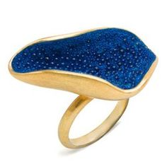 """concave caviar ring"" by Jacqueline Clarke. goldplated silver, glass beads and epoxy resin."