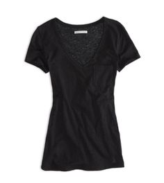 59bdaa8191 True Black AE Favorite V-Neck Pocket T-Shirt Mens Outfitters