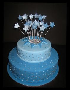 birthday cakes 18 girl 18th Birthday Cake Blue Circles 2 Tier Eat