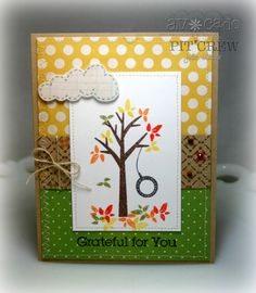 Julie Masse created this super fun fall inspired card sneaking next month's set. Check out the tire swing swaying in the breeze. CLEVER.