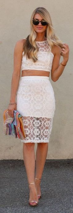 White Lace Crop Top And Pencil Skirt Set by Ash N' Fashn