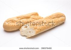 Isolated French baguette  on a white background