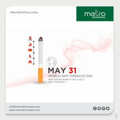 Stop smoking save your life. World Anti-Tobacco Day Creative Poster Design, Creative Posters, Social Media Banner, Social Media Design, Anti Smoking Poster, Anti Tobacco, World No Tobacco Day, Frame Gallery, Ganesha Painting
