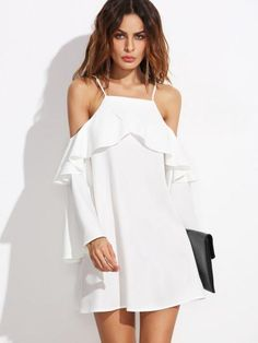 Cheap dress for, Buy Quality dress for women directly from China casual dress Suppliers: SHEIN Casual Dresses for Woman Summer Ladies Plain White Ruffle Trim Long Sleeve Cold Shoulder A Line Short Dress Cute Dresses, Casual Dresses, Short Dresses, Summer Dresses, Ruffle Dress, Dress Skirt, Dress Up, Ruffle Trim, Dress Long