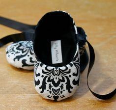 New Style  Baby Girl Shoes Black and White Damask by TillyWhistle, $25.00