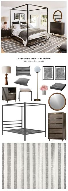 This transitional, eclectic, boho, masculine gray striped bedroom by My Domaine gets recreated for less by room redo looks for less budget home White Bedroom Furniture, Home Bedroom, Bedroom Decor, Cat Bedroom, Striped Room, Scandinavian Bedroom, Guest Bedrooms, Guest Room, Beautiful Bedrooms