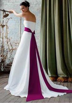 sangria purple color   David's Bridal dress with Sangria coloured sash on left; David's ...