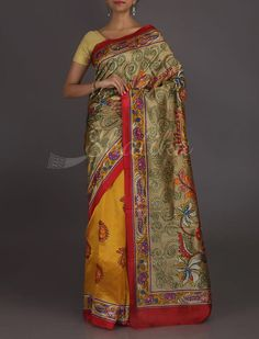 Kashvi Kalamkari Inspired Kantha Work Pure Silk Saree