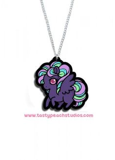 A cute dark pegasus necklace. inches tall and suspended from an 18 inch silvertone chain. Acrylic is waterproof and scratch resistant. All jewelry is hypoallergenic! Tasty Peach Studios, Pegasus, Chain, Dark, Awesome, Cute, Accessories, Clothes, Jewelry