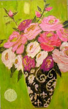 Chartreuse with black and pink - acrylic by ©Susan Brown / femmehesse (via Etsy)
