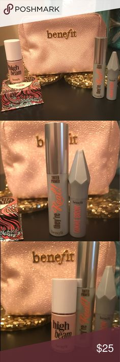 Benefit Set Brand new Benefit Set. New Benefit cosmetic case which includes: they're real tinted primer, & they're real gimme brow, high beam & blush! +FREE high end beauty items with purchase! Benefit Makeup Mascara