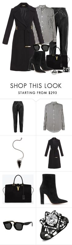 """""""Casual Black : 23/4/2017"""" by bianca-cazacu ❤ liked on Polyvore featuring Yves Saint Laurent, AMI, Pamela Love, Diane Von Furstenberg, Gianvito Rossi, CÉLINE, black and casualoutfit"""