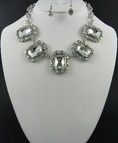 'Chunky Square Rhinestone Necklace and Earring Set' is going up for auction at  6am Sat, Jun 23 with a starting bid of $10.