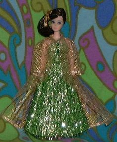 Green with envy OOAK Topper Dawn doll outfit handsewn eyelash gown
