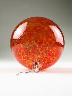 Christmas Ornament Blown Glass Suncatcher Apple Red Speckle by Wolf Art Glass