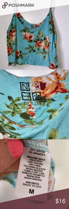 Super cute Nollie Floral Crop Tank Top Super cute Summer Nollie Floral Crop Tank Top- Size Medium, perfect with a pair of high waisted shorts! Nollie Tops Tank Tops