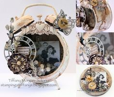Altered clock! Kind of like scrapbooking. Made by Tiffany Morgan-Solorio. Products used are listed on the click-through.