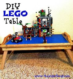 DIY LEGO Table - This would be so easy to make. Perfect for when Isaac wants to play with Lego's in the living room!!