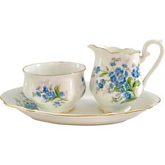 Imagine this romantic Royal Albert Bone China Forget-Me-Not Mini Creamer and Open Sugar with the matching Tray adorning your table for your next