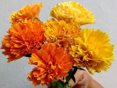 Paper Flowers Marigold / Genda Phool (Flower # 73) - YouTube