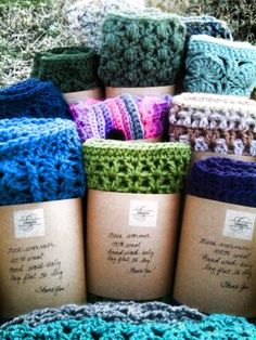 Packaged neck warmers for upcoming craft show. Original designs. Wool, wool/blend.