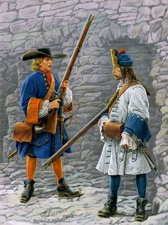 Dutch; Infantry, Hatman from a blue coated regiment & a Grenadier from a white coated regiment, c.1705. Blue & white were the main coat colours of Dutch infantry regiments and naturally orange was a major facing colour throughout the Dutch forces.