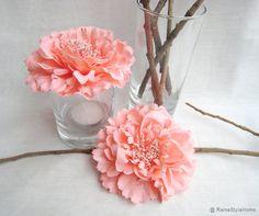 6 pieces Set. Coral Peonies Artficial Flowers Decor. Wedding Decoration. Bridal Shower Decor. Tea Party Decor